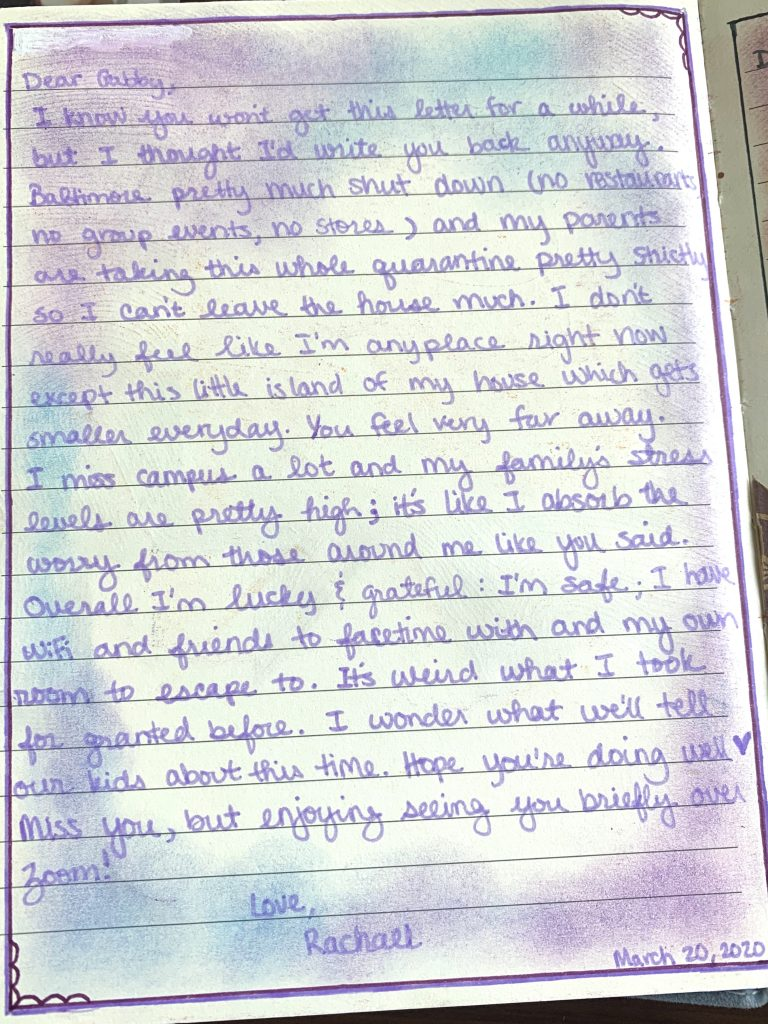 a letter from Rachael to Gabby describing her life in quarantine in Baltimore