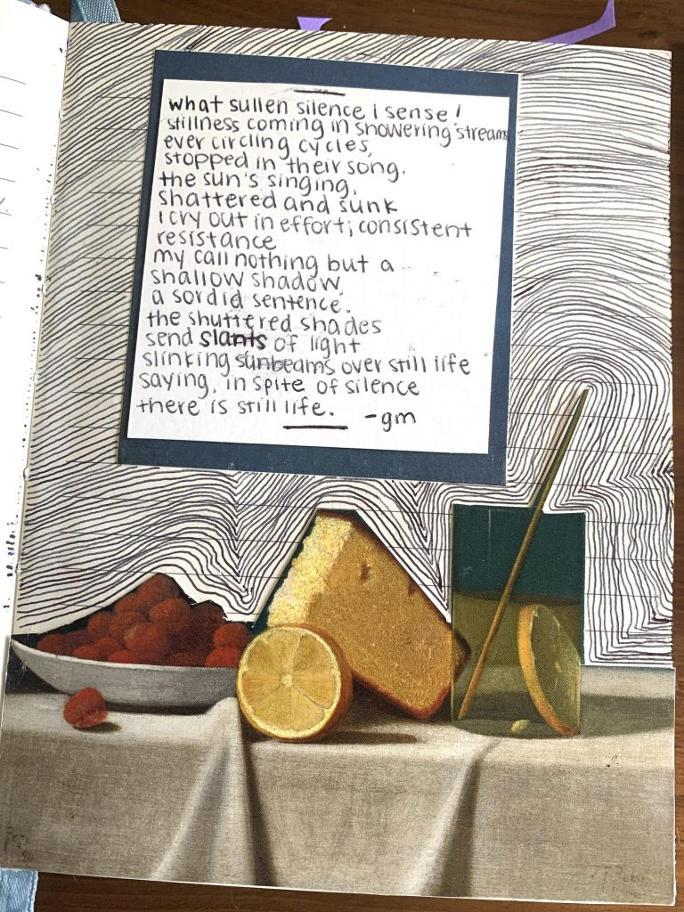 a poem written by Gabby with a still life painting in the background