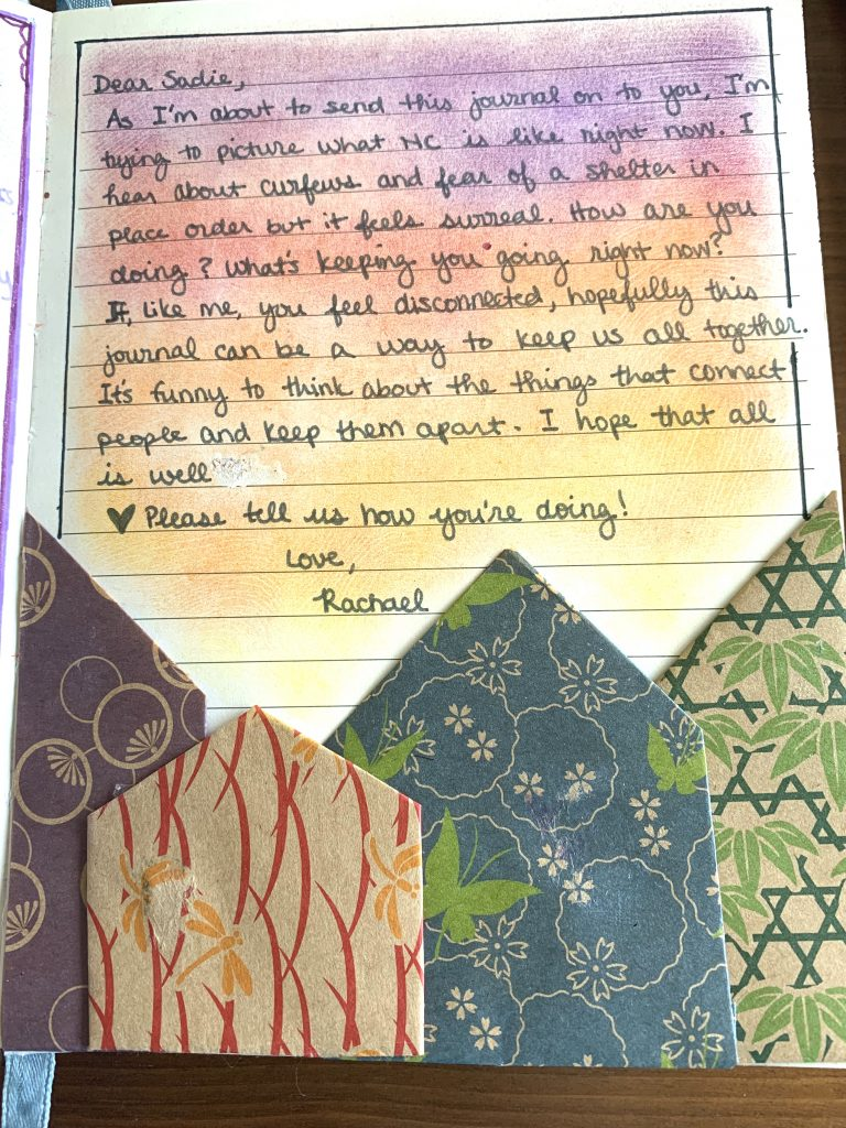 a letter from Rachael to Sadie asking about how she's doing in North Carolina
