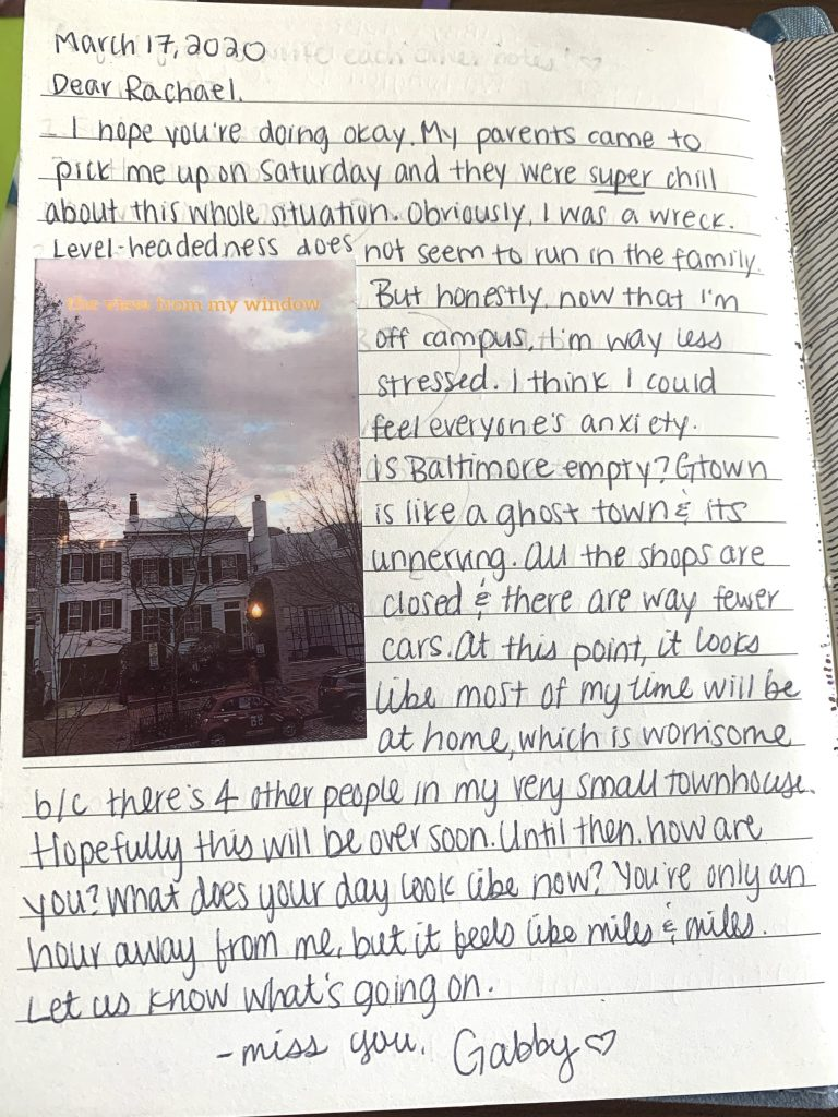 A letter from Gabby to Rachael describing her life in quarantine in Washington, DC.