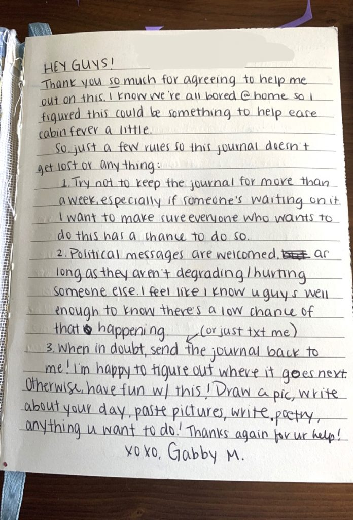 An intro page by Gabby laying down some rules and guidelines for the journal