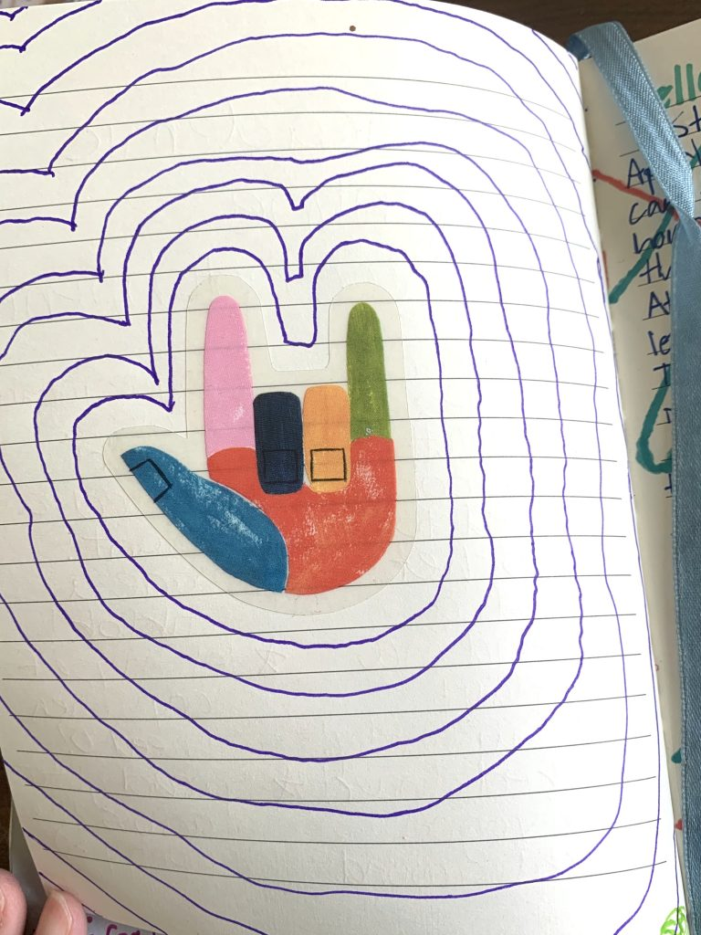 """an outlined sticker of a """"hang loose"""" hand sign"""